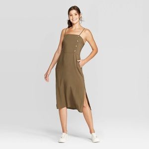 NWT Sleeveless Square Neck Midi Dress Olive Green
